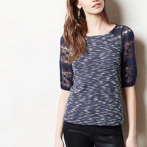 Postmark (Anthro) • Navy Parrell Tweed Lace Blouse